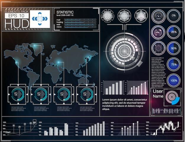 未来的なユーザーインターフェイス。 hud ui。抽象的な仮想グラフィックタッチユーザーインターフェイス。