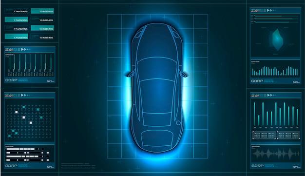 未来的なユーザーインターフェース。 hudのui抽象的な仮想グラフィックタッチユーザーインターフェイス。車