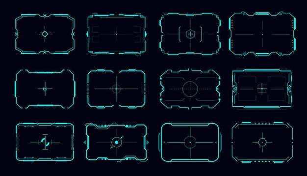 조준 제어판 및 대상 화면 테두리의 hud 벡터 프레임입니다. 공상 과학 게임 사용자 인터페이스, ui 또는 gui 미래 지향적인 디지털 디자인 요소, 네온 십자선이 있는 미래 기술 뷰파인더 디스플레이