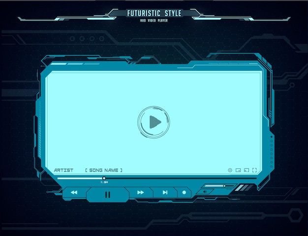 Hud video player futuristic screen interface. neon glowing ui, ux hi-tech skin web design for online movie multimedia content. digital ski-fi template with play button, menu bar and slider