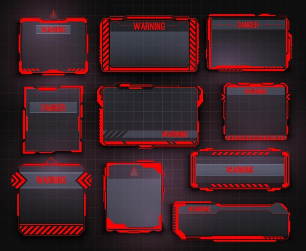 Hud warning display and screen frames, danger info borders. safety system alert window, spaceship caution message and futuristic ui interface warning vector panels with red arrows and high tech frames