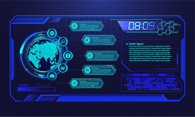 Hud world cyber circuit future technology  background