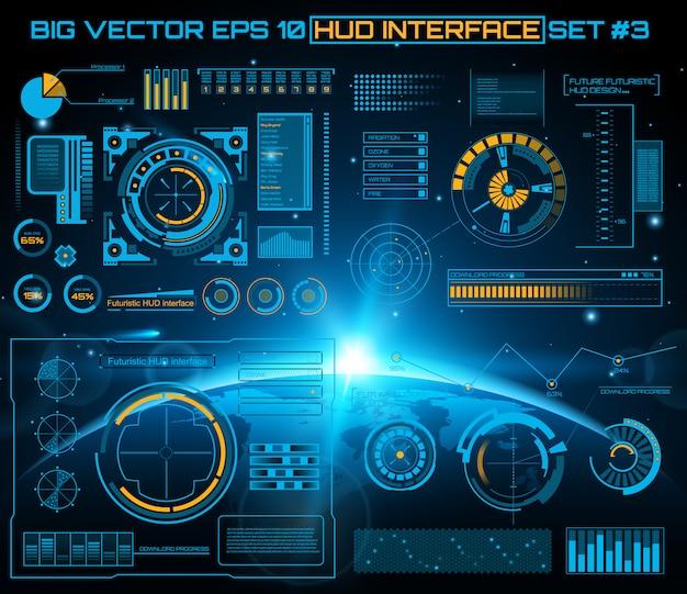 Футуристический виртуальный сенсорный интерфейс пользователя hud.