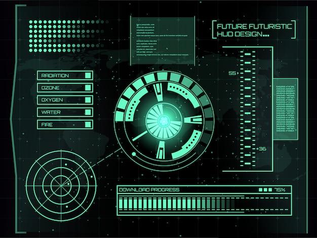 未来的なバーチャルタッチユーザーインターフェースhud。