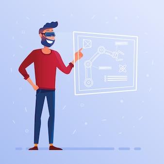 Человек в виртуальной гарнитуре с интерфейсом hud, показывающий технологический проект с роботизированной рукой