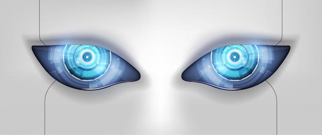 ロボットの眼未来的なhudインターフェース
