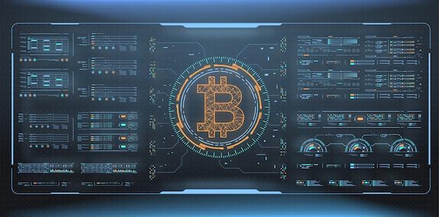 ビットコイン技術の抽象的な視覚化。未来的な美的デザイン。 hud要素を持つビットコインシンボル。未来的なユーザーインターフェイス