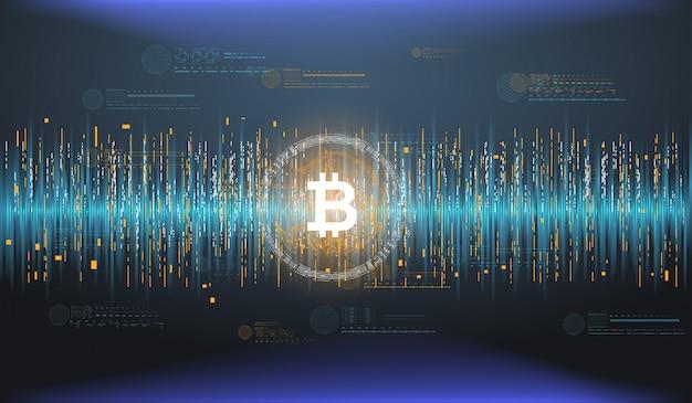 折れ線グラフで抽象的な財務チャート。暗号通貨テクノロジー。未来的なhud要素を備えたビットコイン。