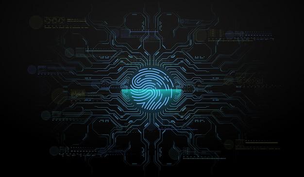 Сканирование пальцев в футуристическом стиле. биометрический идентификатор с футуристическим интерфейсом hud. иллюстрация концепции технологии сканирования отпечатков пальцев. идентификация системы сканирования.
