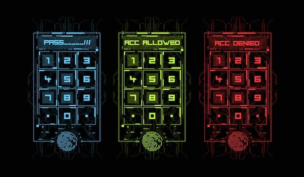 Сканирование пальцев в футуристическом стиле. биометрический идентификатор с футуристическим интерфейсом hud. иллюстрация концепции технологии сканирования отпечатков пальцев. панель управления с паролем.