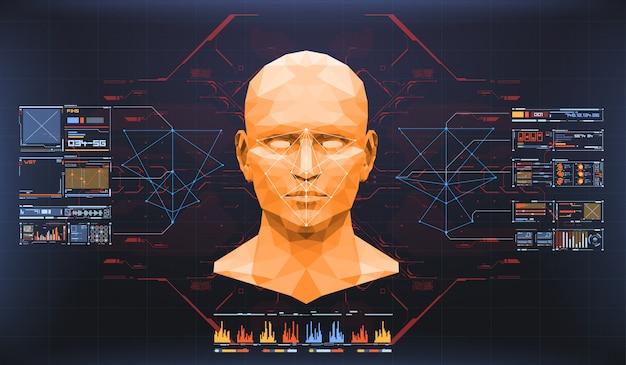 顔スキャンの概念。正確な顔認識バイオメトリック技術と人工知能の概念。顔検出hudインターフェイス。