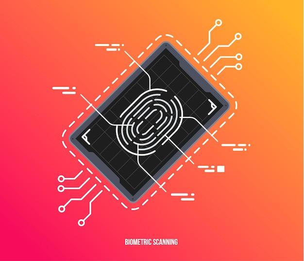 Сканирование пальцев в футуристическом стиле. биометрический идентификатор с футуристическим интерфейсом hud. биометрический символ авторизации