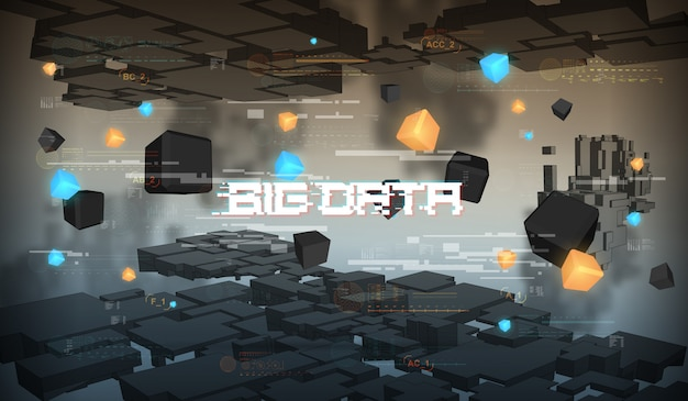 ビッグデータの抽象的な視覚化。未来的な美的デザイン。 hud要素を持つビッグデータの背景。