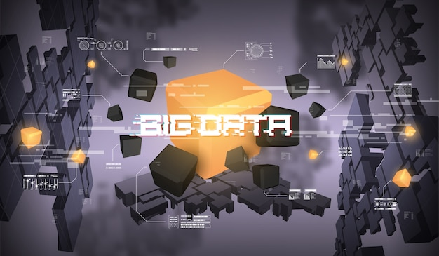ビッグデータの抽象的な視覚化。未来的な美的デザイン。 hud要素を持つビッグデータ。