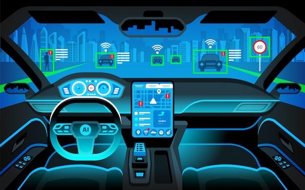 Кабина автономного автомобиля. самостоятельное вождение автомобиля. искусственный интеллект на дороге. главный дисплей (hud) и различная информация. интерьер автомобиля.