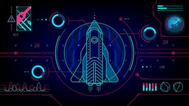 Космический корабль футуристический дисплей технологии hud