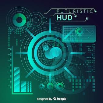 グラデーションスタイルによる未来的なhudインターフェイス