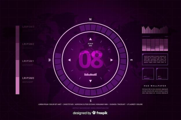 Абстрактный фиолетовый фон технологии hud
