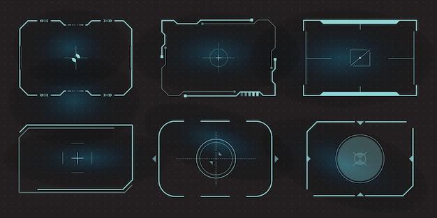 ターゲット画面とボーダーエイムコントロールパネルの未来的なhudフレーム。