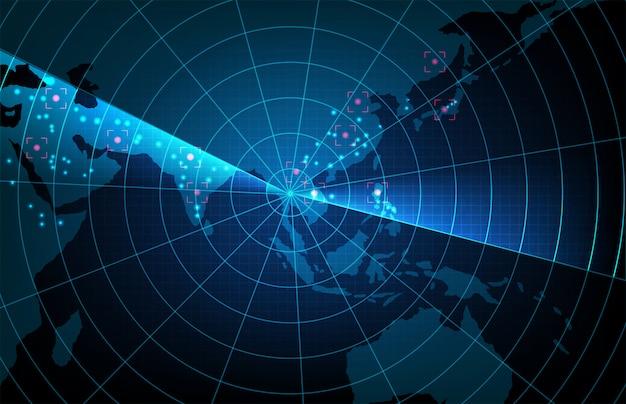 未来技術スキャンターゲットインターフェイスの抽象的な背景hudアジア太平洋地図、ハイテク画面の概念
