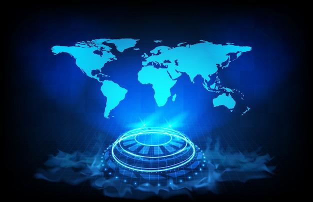 世界地図地球のデジタル未来ホログラムhudインターフェイス表示の抽象的な背景