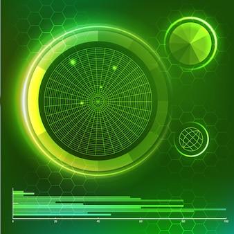 未来的なユーザーインターフェース。グリーンhud要素を設定します。ベクター