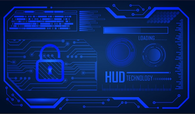青いhudサイバー回路将来の技術コンセプトの背景