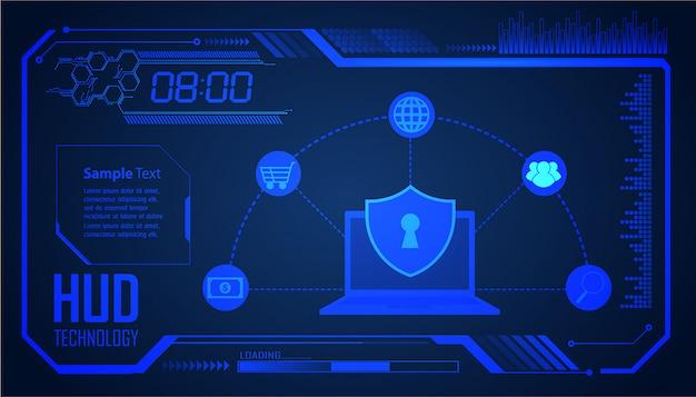デジタル背景、サイバーセキュリティにhudクローズ南京錠