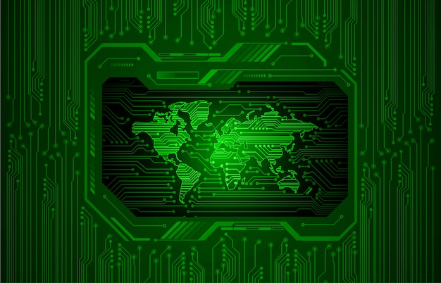 Технология будущего бинарной платы, зеленый фон hud кибербезопасности,