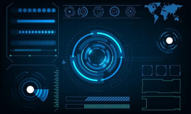 抽象的なサークル技術未来的なインターフェースhudの概念