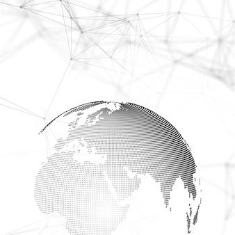 抽象的な未来的なネットワーク形状。ハイテクhud背景、線と点を接続する、多角形の線形テクスチャ。グレーの地球儀。グローバルネットワーク接続、幾何学的設計、掘削データの概念。