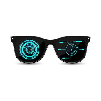 ダークグラスとhudインターフェイスを備えたブラックの未来的なヒップスターサングラス。