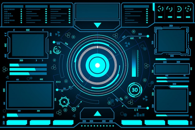 Панель управления абстрактными технологиями интерфейса hud