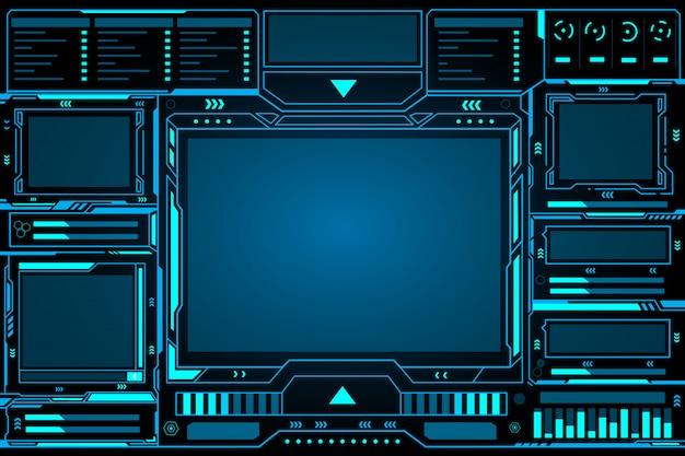 Панель управления абстрактными технологиями футуристического интерфейса hud