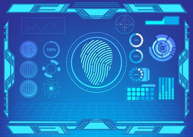 Hudインターフェースの指紋とその他のパネルのベクトル。