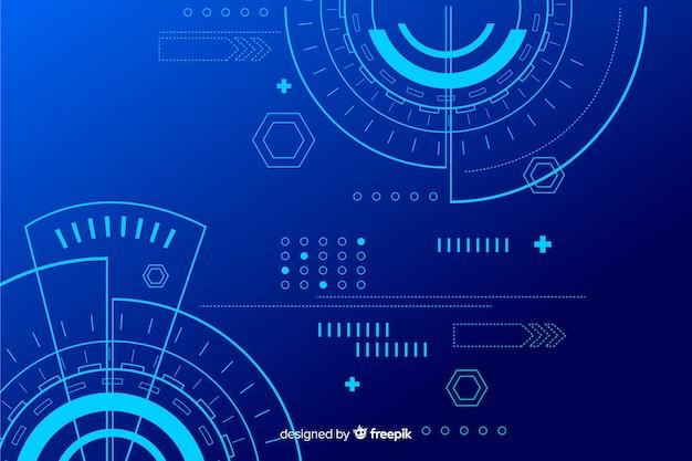 Абстрактная технология hud синий фон