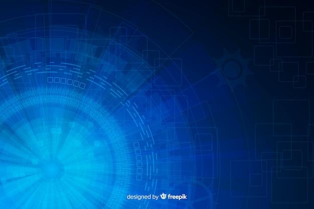 Синий абстрактный фон технологии hud