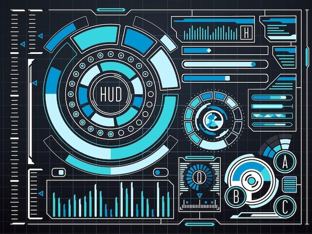 サイエンスフィクションの未来的なバーチャルグラフィックタッチユーザインタフェースhud