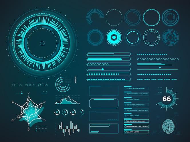 Футуристический пользовательский интерфейс hud. инфографические векторные элементы