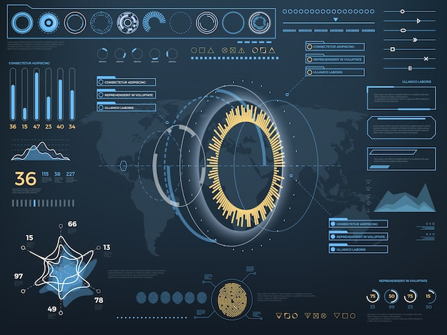 Будущий виртуальный сенсорный интерфейс пользователя hud.