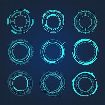 Hud円形ハイテク未来的なユーザーインターフェイスのベクトル図