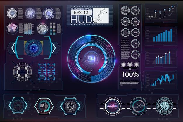 Абстрактное будущее hud футуристический синий виртуальный инфографики.