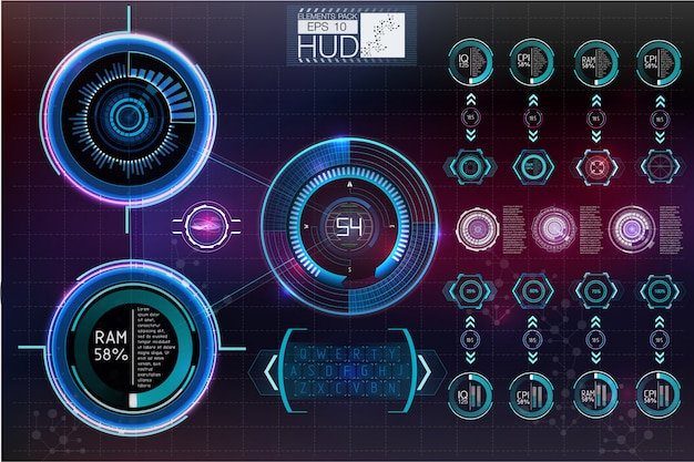 未来的なユーザーインターフェイス.hudのバックグラウンドスペース。インフォグラフィック要素。