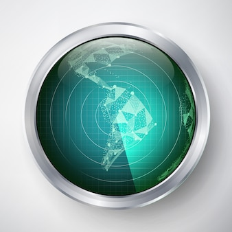 レーダーベクトル。南アメリカ。未来的なユーザーインターフェースhud。サイエンスフィクション未来