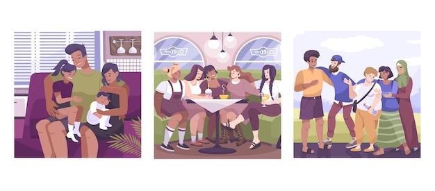 Набор композиций для объятий с семейной компанией и группой друзей