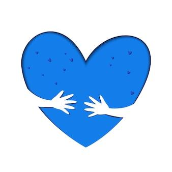 あなた自身ロゴを抱きしめる。自分自身のロゴを愛する。ケアロゴ。