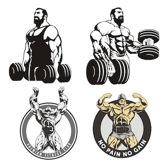 Huge bodybuilders, set of illustrations