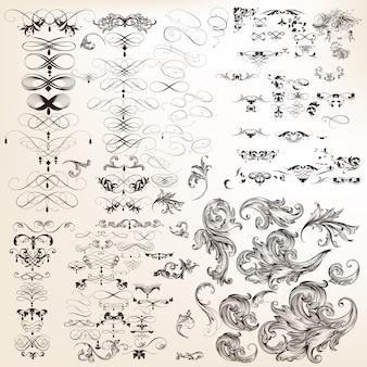 Огромная коллекция векторных декоративных каллиграфических завитков Бесплатные векторы