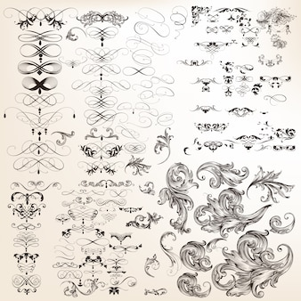 Huge collection of vector decorative calligraphic flourishes
