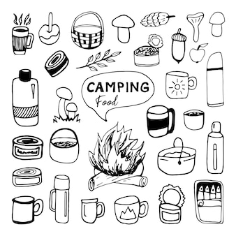 Huge hand drawn vector camping food and drink clip art set travel design